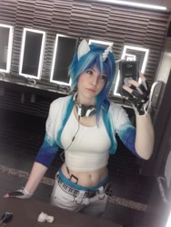 Size: 768x1024   Tagged: safe, artist:littlemissbloo, dj pon-3, vinyl scratch, human, 2015, belly button, breasts, clothes, cosplay, costume, headphones, irl, irl human, photo, selfie, solo