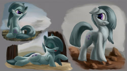 Size: 4000x2250 | Tagged: safe, artist:flusanix, marble pie, earth pony, pony, cute, eyes closed, female, lying down, marblebetes, mare, prone, smiling, solo