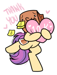 Size: 834x1090 | Tagged: safe, artist:paperbagpony, oc, oc:paper bag, earth pony, pony, bipedal, crying, cute, fake cutie mark, female, happy, heart, mare, milestone, ocbetes, simple background, standing, standing on one leg, sticky note, tears of joy, white background