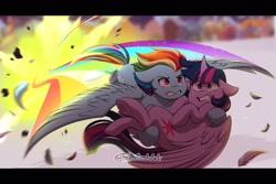 Size: 1800x1200 | Tagged: safe, artist:tylerdashart, rainbow dash, twilight sparkle, alicorn, pegasus, pony, my little pony: the movie, duo, explosion, feather, female, floppy ears, flying, holding a pony, mare, twilight sparkle (alicorn)