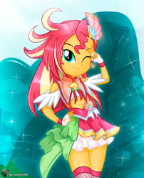 Size: 2630x3257 | Tagged: safe, artist:charliexe, sunset shimmer, equestria girls, alternate hairstyle, anime, clothes, commission, cosplay, costume, crossover, cure flamingo, dress, female, fingerless gloves, gloves, hand on hip, high res, looking at you, one eye closed, pretty cure, smiling, smiling at you, solo, wink, winking at you