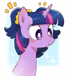 Size: 1713x1911 | Tagged: safe, artist:nendo, twilight sparkle, pony, abstract background, alternate hairstyle, ambiguous race, bust, cute, pigtails, portrait, solo, twiabetes, twintails, white pupils