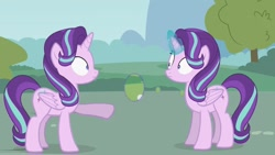 Size: 1436x808   Tagged: safe, artist:forgalorga, screencap, starlight glimmer, alicorn, alicornified, duality, glowing horn, horn, looking at each other, magic, race swap, shocked, starlicorn, starlight's world, surprised, xk-class end-of-the-world scenario