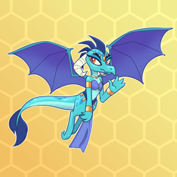 Size: 3000x3000 | Tagged: safe, artist:spitfire740, princess ember, dragon, art trade, belly dancer outfit, dragoness, female, jewelry, spread wings, wings