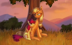 Size: 3304x2080   Tagged: safe, artist:enderselyatdark, apple bloom, applejack, earth pony, pony, apple bloom's bow, blurry background, bow, chest fluff, cloud, duo, duo female, eyebrows, female, filly, grass, green eyes, hair bow, hoof around neck, hug, lidded eyes, looking at each other, mare, missing accessory, mountain, orange eyes, siblings, sitting, smiling, smiling at each other, tree, twilight (astronomy), under the tree