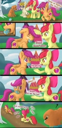 Size: 1987x4096 | Tagged: safe, artist:db, artist:dbcreativearts, apple bloom, ripley, scootaloo, zippoorwhill, dog, earth pony, pegasus, pony, forever filly, ball, behaving like a dog, butt, comic, cute, female, filly, mouth hold, plot, question mark, scootapup, underhoof