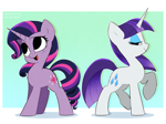 Size: 3142x2338 | Tagged: safe, artist:syrupyyy, part of a set, rarity, twilight sparkle, pony, unicorn, alternate hairstyle, cute, duo, eyeshadow, female, gradient background, horn, lidded eyes, makeup, mane swap, mare, open mouth, open smile, raised hoof, raribetes, rarity hair, redraw, smiling, tail swap, twiabetes, unicorn twilight