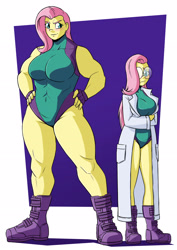 Size: 2481x3508 | Tagged: safe, artist:new-ereon, fluttershy, equestria girls, blushing, boots, breasts, busty fluttershy, clothes, commission, crossed arms, crossover, duality, female, fingerless gloves, flutterhulk, glasses, gloves, hand on hip, lab coat, leotard, muscles, muscleshy, muscular female, self paradox, she-hulk, shoes, simple background, solo
