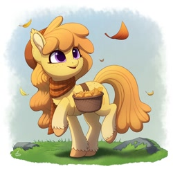 Size: 2000x2000 | Tagged: safe, artist:luminousdazzle, oc, oc only, earth pony, pony, bag, clothes, cute, ear fluff, female, freckles, grass, leaf, leaves, mare, open mouth, raised hoof, rock, saddle bag, scarf, smiling, solo