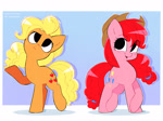Size: 3142x2338 | Tagged: safe, artist:syrupyyy, part of a set, applejack, pinkie pie, earth pony, pony, alternate hairstyle, cute, diapinkes, duo, female, gradient background, jackabetes, mane swap, mare, open mouth, raised hoof, redraw, smiling, tail swap