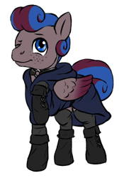 Size: 350x500 | Tagged: safe, artist:multiverseequine, derpibooru exclusive, oc, oc only, oc:clouded sight, pegasus, pony, :t, blue eyes, choker, clothes, colored, daybreak island, folded wings, freckles, hood, hoof boots, leggings, male, one eye closed, pegasus oc, raised hoof, robe, simple background, smiling, solo, stallion, swirly mane, tail, transparent background, two toned mane, two toned wings, wings, wink