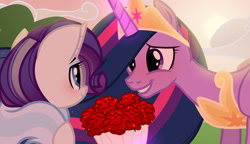 Size: 3783x2173 | Tagged: safe, artist:tsetsera, rarity, twilight sparkle, alicorn, pony, unicorn, the last problem, blushing, bouquet, female, flower, glowing horn, horn, lesbian, looking at each other, mare, older, older rarity, older twilight, princess twilight 2.0, rarilight, rose, shipping, skunk stripe, smiling, smiling at each other, twilight sparkle (alicorn)