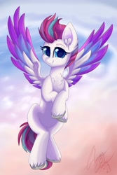 Size: 2731x4096   Tagged: safe, artist:gleamydreams, zipp storm, pegasus, pony, g5, adorazipp, chest fluff, cloud, cute, ear fluff, female, flying, looking at you, mare, smiling, spread wings, unshorn fetlocks, wings