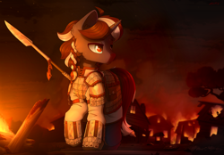 Size: 4000x2776   Tagged: safe, artist:dipfanken, oc, oc only, oc:procellus, pony, unicorn, armor, fire, male, solo, spear, stallion, weapon