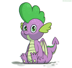 Size: 1728x1632   Tagged: safe, artist:kirasunnight, spike, dragon, cute, looking at you, male, simple background, sitting, solo, spikabetes, white background, winged spike, wings