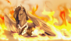 Size: 1920x1108 | Tagged: safe, artist:dementra369, oc, oc only, oc:ruby drop, earth pony, pegasus, pony, fire