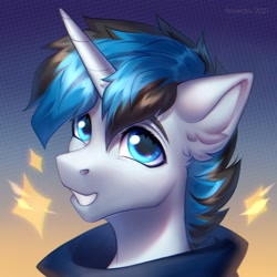 Size: 2000x2000 | Tagged: safe, artist:fenwaru, oc, oc only, oc:solar gizmo, pony, unicorn, grin, high res, horn, looking at you, male, smiling, smiling at you, solo, stallion, unicorn oc
