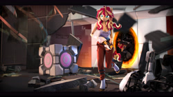Size: 9600x5400 | Tagged: safe, artist:imafutureguitarhero, sunset shimmer, unicorn, anthro, unguligrade anthro, art pack:fun n games artpack, 3d, absurd file size, absurd resolution, alternate hairstyle, aperture science, armband, black bars, boots, cheek fluff, chromatic aberration, clothes, colored eyebrows, colored eyelashes, companion cube, crossover, destroyed, ear fluff, female, film grain, floppy ears, fluffy, freckles, fur, glass, gun, horn, long fall horseshoe, mare, messy hair, messy mane, multicolored hair, multicolored mane, multicolored tail, nose wrinkle, open mouth, pants, peppered bacon, ponytail, portal, portal (valve), portal gun, revamped anthros, revamped ponies, rubble, running, shoes, shoulder fluff, signature, solo, source filmmaker, tail, tanktop, wall of tags, weapon, wristband