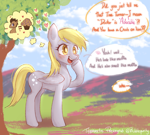 Size: 3000x2700 | Tagged: safe, artist:bubblepurity, derpy hooves, doctor whooves, time turner, earth pony, pegasus, pony, background pony, blushing, chat, cute, derp, derpabetes, doctorderpy, female, food, heart, heart eyes, implied carrot top, implied doctorderpy, implied shipping, implied straight, male, mare, muffin, ponyville, shipping, solo, straight, translated in the description, tree, wingding eyes