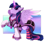 Size: 3680x3448 | Tagged: safe, artist:pridark, twilight sparkle, alicorn, pony, badass, chains, chest fluff, clothes, ear fluff, female, glowing, glowing horn, high res, horn, jacket, jewelry, mare, necklace, pendant, socks, solo, spread wings, striped socks, twilight sparkle (alicorn), wings