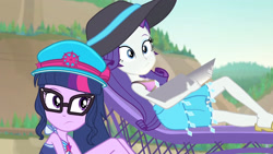 Size: 3410x1920 | Tagged: safe, screencap, rarity, sci-twi, twilight sparkle, equestria girls, equestria girls series, forgotten friendship, beach, bikini, cap, clothes, duo, duo female, female, geode of shielding, geode of telekinesis, glasses, hat, high res, jewelry, lounge chair, magical geodes, necklace, one-piece swimsuit, ponytail, sarong, sleeveless, sun hat, swimsuit