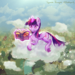Size: 2700x2700   Tagged: safe, artist:bubblepurity, twilight sparkle, alicorn, pony, book, cloud, crossed hooves, cute, daring do books, female, glowing, glowing horn, horn, levitation, lying down, lying on a cloud, magic, mare, on a cloud, ponyville, reading, relaxing, sitting, solo, telekinesis, twiabetes, twilight sparkle (alicorn)