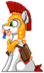 Size: 1095x1815 | Tagged: safe, artist:epicvon, artist:yakovlev-vad, earth pony, pony, armor, bag, cute, galea, helmet, hooves, male, manepxls, mouth hold, pixel art, pxls.space, royal guard, royal guard armor, saddle bag, scroll, simple background, sitting, smiling, solo, stallion, transparent background