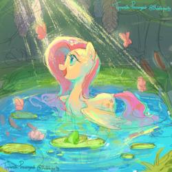 Size: 3000x3000 | Tagged: safe, artist:bubblepurity, fluttershy, butterfly, frog, pegasus, pony, behaving like a bird, cute, daaaaaaaaaaaw, everfree forest, flower, lilypad, lotus (flower), pond, shyabetes, sketch, smiling, solo, sunlight, water, wet, wet mane