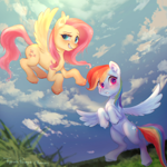 Size: 3000x3000 | Tagged: safe, artist:bubblepurity, fluttershy, rainbow dash, pegasus, pony, backwards cutie mark, blushing, chromatic aberration, cloud, duo, flying, personality swap, ponyville, swap, switch, wings