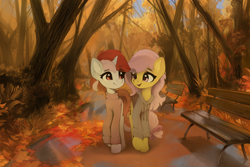 Size: 1920x1280 | Tagged: safe, artist:freeedon, oc, oc only, oc:chelsea, oc:chelsea (rhstrings), oc:ruby, oc:ruby heartstrings (rhstrings), earth pony, pegasus, pony, unicorn, autumn, bench, clothes, duo, female, forest, hoodie, leaves, mare, not fluttershy, path, sweater, tree