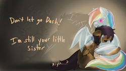 Size: 1024x576   Tagged: safe, artist:conmanwolf, rainbow dash, scootaloo, ghost, ghost pony, undead, fanfic:pegasus device, fanfic:rainbow factory, absentia, absentia's cutie mark, alternate design, alternate hairstyle, blue body, clothes, crying, dialogue, factory scootaloo, faded cutie mark, fanart, fanfic art, floppy ears, folded wings, glowing, glowing eyes, hug, hugging a ghost, lidded eyes, messy mane, multicolored hair, no mouth, open mouth, purple mane, purple tail, rainbow factory au, rainbow factory dash, rainbow factory logo, rainbow factory worker scootaloo, rainbow hair, rainbow tail, sad, see-through, spirit, tail, transparent, transparent flesh, transparent mane, transparent tail, winghug, wings