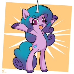 Size: 1280x1280 | Tagged: safe, artist:branewashpv, izzy moonbow, pony, unicorn, g5, my little pony: a new generation, abstract background, bipedal, cute, female, filly, izzybetes, looking at you, open mouth, solo, standing on two hooves