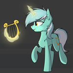 Size: 2137x2137   Tagged: safe, artist:danger_above, lyra heartstrings, pony, unicorn, ear fluff, female, glowing, glowing horn, high res, horn, levitation, lyre, magic, mare, musical instrument, raised hoof, raised leg, simple background, smiling, solo, standing, standing on two hooves, telekinesis