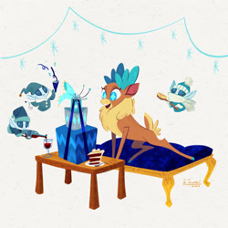 Size: 2250x2250 | Tagged: safe, artist:lindsay towns, velvet (tfh), deer, reindeer, winter sprite, them's fightin' herds, alcohol, brush, cake, community related, food, gift box, simple background, white background, wine