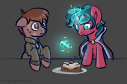 Size: 3000x2000 | Tagged: safe, artist:buy_some_apples, oc, oc only, earth pony, unicorn, cake, duo, duo male, food, magic, male, sketch