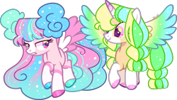 Size: 1643x927 | Tagged: safe, artist:kurosawakuro, oc, oc only, alicorn, pegasus, colored wings, female, gradient wings, mare, multicolored wings, simple background, transparent background, wings