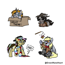 Size: 2550x2550 | Tagged: safe, artist:greenmaneheart, derpy hooves, doctor whooves, time turner, oc, pony, box, clothes, glasses, hat, lying down, pony in a box, prone, scarf, simple background, transparent background