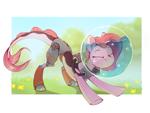Size: 1390x1044   Tagged: safe, artist:rexyseven, oc, oc only, oc:koraru koi, merpony, pony, blurry background, eyes closed, female, flower, grass, outdoors, prosthetic leg, prosthetic limb, prosthetics, solo, stretching