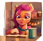 Size: 2146x2054 | Tagged: safe, artist:annna markarova, sunny starscout, earth pony, pony, g5, book, female, kitchen, mare, reading, scene interpretation, solo