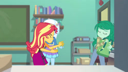 Size: 3410x1920 | Tagged: safe, screencap, sunset shimmer, trixie, wallflower blush, equestria girls, equestria girls series, forgotten friendship, backpack, clothes, cutie mark, cutie mark on clothes, eyes closed, female, hairpin, high res, hoodie, jacket, jewelry, leather, leather jacket, necklace