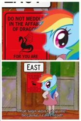 Size: 524x786 | Tagged: safe, rainbow dash, fanfic:austraeoh, arthur, meme, sign