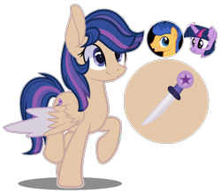 Size: 906x796 | Tagged: safe, artist:amicasecretuwu, flash sentry, twilight sparkle, oc, pegasus, pony, colored wings, female, mare, offspring, parent:flash sentry, parent:twilight sparkle, parents:flashlight, simple background, transparent background, two toned wings, wings