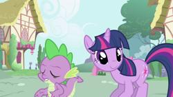 Size: 1920x1080 | Tagged: safe, screencap, spike, twilight sparkle, dragon, pony, unicorn, friendship is magic, season 1, cute, day, double, duo, eyes closed, female, male, mare, outdoors, ponyville, smiling, twiabetes, unicorn twilight