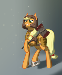 Size: 1200x1450 | Tagged: safe, artist:rosik, applejack, armor, axe, blood, crossover, fantasy class, quake, ranger, skull, solo, warrior, weapon