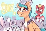 Size: 2616x1770 | Tagged: safe, artist:colorfulcolor233, part of a set, hitch trailblazer, sprout (g5), earth pony, pony, rabbit, g5, 8, animal, chest fluff, countdown, cute, hitchbetes, male, open mouth, open smile, smiling, stallion