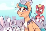 Size: 2616x1770 | Tagged: safe, alternate version, artist:colorfulcolor233, part of a set, hitch trailblazer, sprout (g5), earth pony, pony, rabbit, g5, animal, chest fluff, cute, hitchbetes, male, open mouth, open smile, smiling, stallion