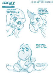 Size: 960x1371 | Tagged: safe, artist:jcosneverexisted, fluttershy, princess ember, dragon, pegasus, pony, yoshi, sweet and smoky, crossover, dialogue, female, male, mare, season 9 doodles, text