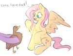 Size: 1186x908 | Tagged: safe, artist:vetta, fluttershy, twilight sparkle, bird, duck, pegasus, pony, cute, offscreen character, op, opbetes, shyabetes, simple background, sitting, white background