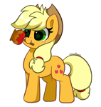 Size: 4376x4608 | Tagged: safe, artist:kittyrosie, applejack, earth pony, pony, blushing, caramel apple (food), cute, female, food, jackabetes, mare, mouth hold, redraw, simple background, smiling, solo, starry eyes, transparent background, wingding eyes