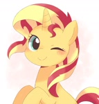 Size: 1260x1321 | Tagged: safe, artist:arrow__root, sunset shimmer, pony, unicorn, blushing, cute, female, mare, one eye closed, shimmerbetes, solo, wink